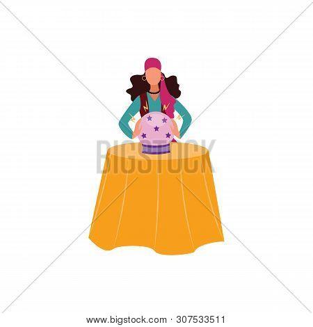 Gypsy Or Romani Woman Telling Future The Cartoon Flat Vector Illustration Isolated.