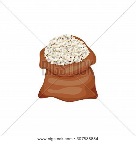 The Burlap Open Sack Or Fabric Bag Of Rice Cereal Vector Illustration Isolated.