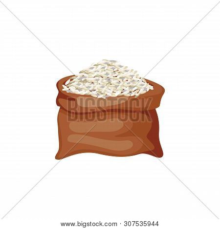Brown Rice Grains In Burlap Sack Or Bag Cartoon Vector Illustration Isolated.
