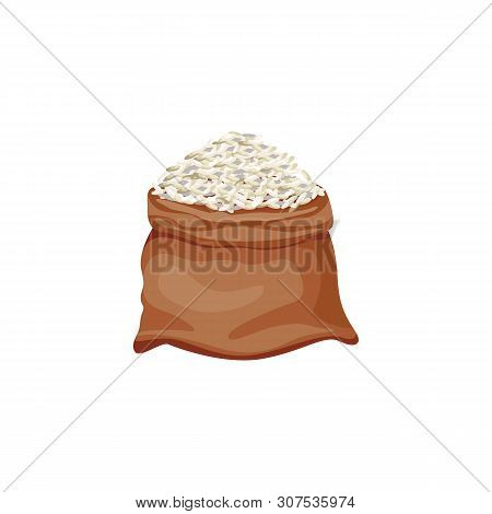 Brown Rice Bag - Isolated Open Burlap Sack Full Of White Grain Standing Isolated On White Background