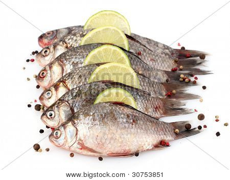Fresh fishes with lime and spice isolated on white poster