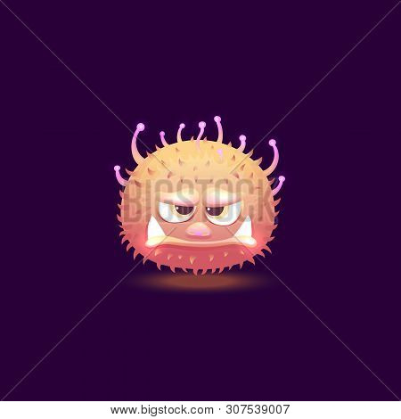 Funny Cute Fury Round Monster With Big Teeth Cartoon Vector Illustration Isolated.