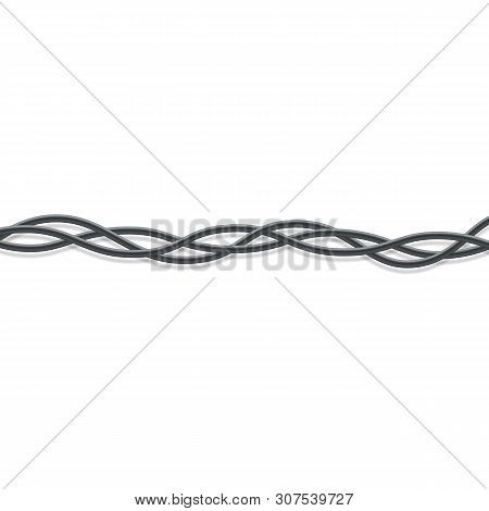 Three Black Electrical Wires Intertwined Together Realistic Style