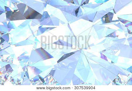 Diamond Background Texture. Macro 3d Rendering Model