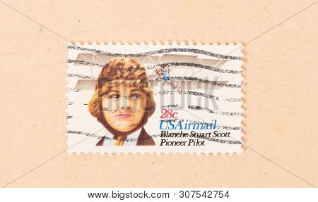 United States - Circa 1970: A Stamp Printed In The Usa Shows An Image Of Blanche Stuart Scott, Circa