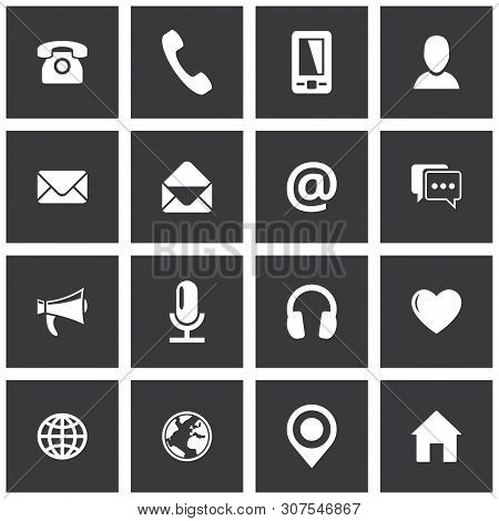 Square Communication Icon Set. Vector Pictograms For Business, Mobile, Web: Phone, Mobile Phone, Ema