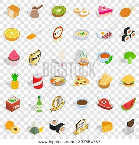 Quality Food Icons Set. Isometric Style Of 36 Quality Food Vector Icons For Web For Any Design