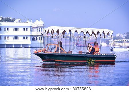 Udaipur, Rajasthan / India: 21 June 2019: Abstract Background Of Boat Ride On Lake Pichola, Udaipur,