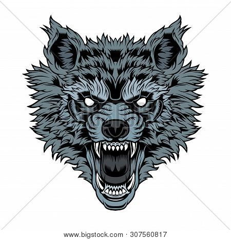 Head Of A Growling Wolf. Vector Illustration For Use As Print, Poster, Sticker, Logo, Tattoo, Emblem