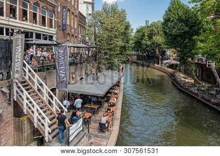 Utrecht, The Netherlands - July 05, 2018: Downtown District Dutch City Utrecht With Shopping People
