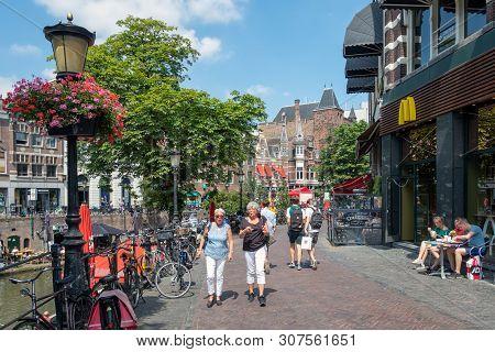 Utrecht, The Netherlands - July 05, 2018: Two Women Walking Downtown Dutch City Utrecht In Shopping