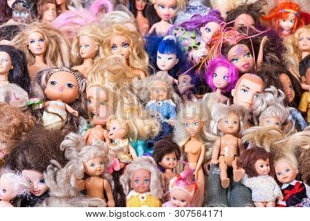 Moscow, Russia - June 17, 2019: Many Old Used Fashion Dolls ( Barbie, Ken, Shelly, Chelsea, Kelly, B