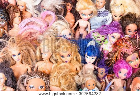 Moscow, Russia - June 17, 2019: Above View Of Various Used Fashion Dolls ( Barbie, Ken, Shelly, Chel