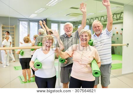 Group of seniors having fun together at the fitness class in the gym and waving to the camera