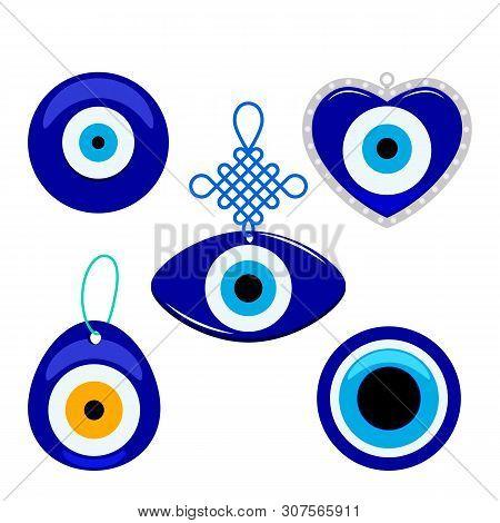 Turkish Traditional Set Of Blue Glassy Boncuk Mascot. Symbol From Evil Eye Isolated On White Backgro