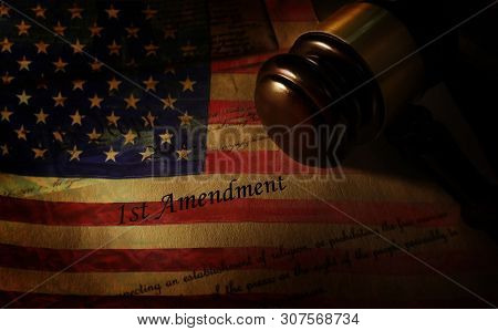 First Amendment Of The Us Constitution Text And United States Flag