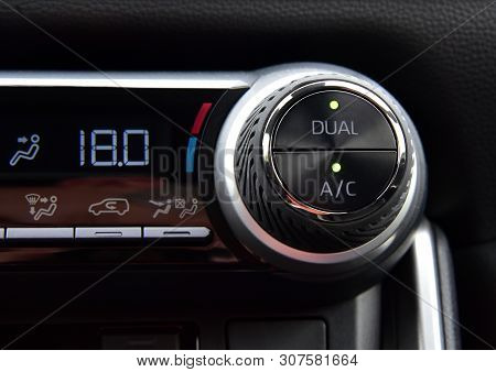 Button For Activating The Air Conditioners On The Dashboard Passenger Car