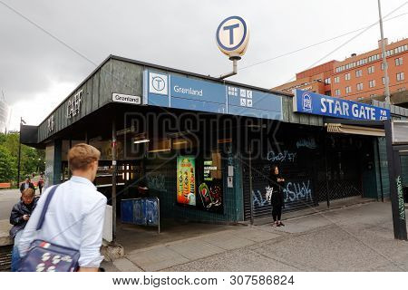 Oslo, Norway - June 20, 2019: Exterior View Of The Gronland Metro Station.