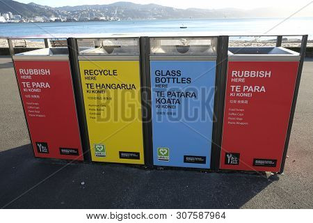 Wellington Waterfront 17th May 2019. Recycling And Rubbish Bins At The Beach