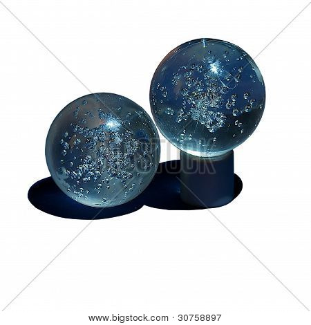 Two Glass Balls With Air Bubbles Inside.