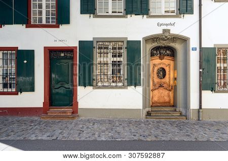 Basel, Switzerland - April 17, 2019. Old Town Of Basel. Front Doors Of The Historical Building Eptin