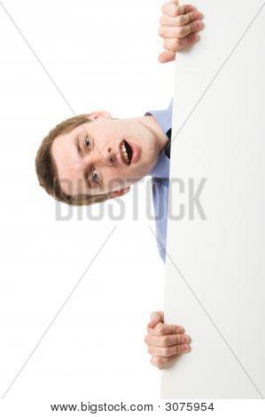 Business Man On Blue Shirt Holding A Billboard