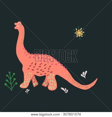 Pink Brachiosaurus Cute Illustration On Black Background. Cartoon Characters Isolated Design Element