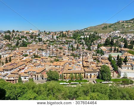 Houses and mountain view in Granada, Spain