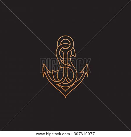 Golden Monogram Letter S With Anchor. Vector Illustration.