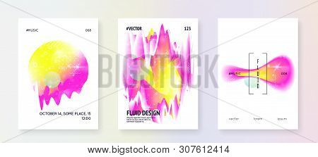 Space Poster. Galactic Science Banner With Planet, Sun, Deep Fluid Light. Holographic Gradients.  3d