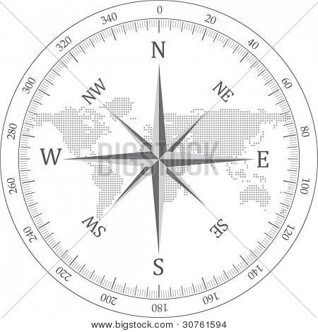 Black compass vector illustration.