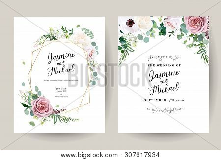 Geometric Floral Vector Design Frames. Dusty Pink Rose, Anemone, White Lilac, Eucalyptus, Greenery.