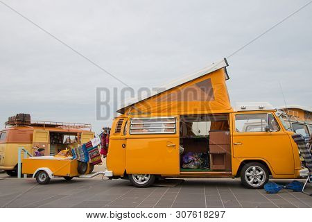 Scheveningen, The Hague, The Netherlands - May 26 2019: 1960s Style Vw Classic Combi With Trailer Pa