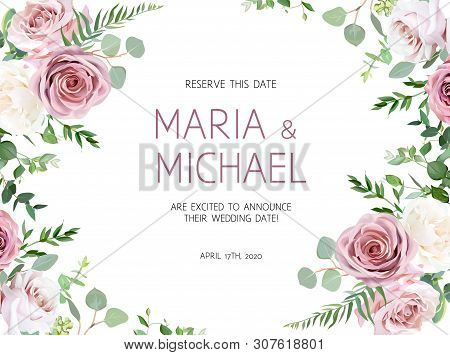 Dusty Pink, Creamy White Antique Rose, Pale Flowers Vector Design Summer Wedding Horizontal Frame. E
