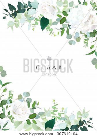 Floral Vector Banner Vertical Invitation Frame With White Rose, Hydrangea, Eucalyptus, Emerald And M