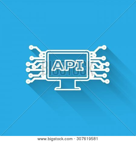 White Computer Api Interface Line Icon Isolated With Long Shadow. Application Programming Interface