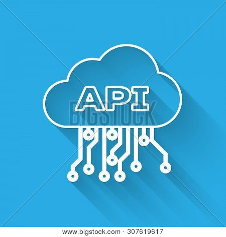 White Cloud Api Interface Line Icon Isolated With Long Shadow. Application Programming Interface Api