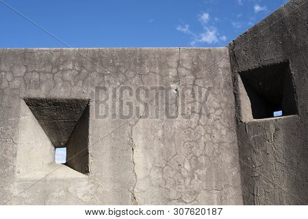 Embrasures On The Wall Of A World War 2 Military Fort In Newcastle, Australia Military Fort In Newca