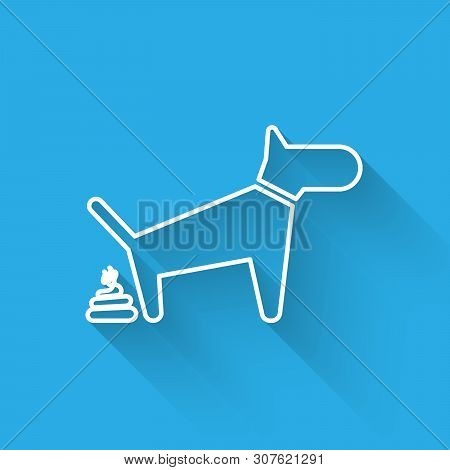 White Dog Pooping Line Icon Isolated With Long Shadow. Dog Goes To The Toilet. Dog Defecates. The Co