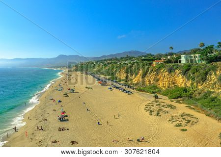 Aerial View Of Pacific Coast At Point Dume Beach From Point Dume Promontory On Malibu, Pacific Ocean