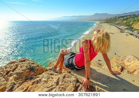 Caucasian Female Looks Point Dume State Beach From Point Dume Promontory On Malibu Coast In Ca, Unit