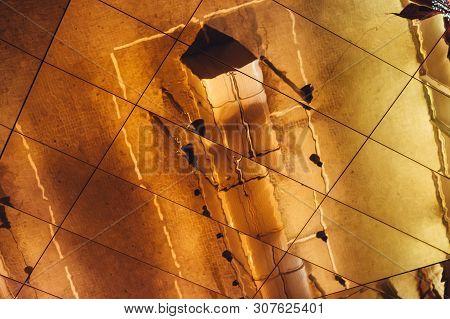 Barcelona, Spain - 2017.12.14:  Reflection In The Roof Of The Encants Vells Flea Market