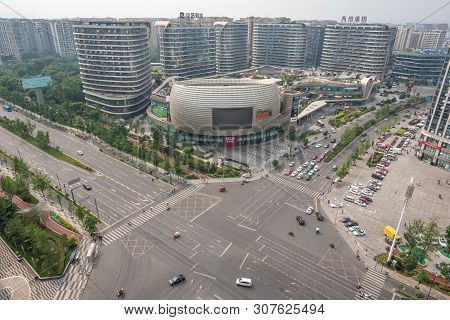 Chengdu, Sichuan Province, China -june 5, 2019 : Pangruili Commercial Mall And Crossroad With City S