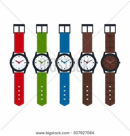 Analog Watches On White Background. Colorful Watches Collection.
