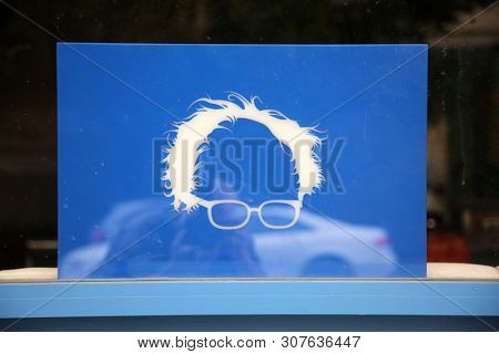 6-18-2019 Los Angeles, California: Socialist Political Posters and Signs in the window of a Bernie Sanders Cafe or Coffee Shop. Editorial Use Only.