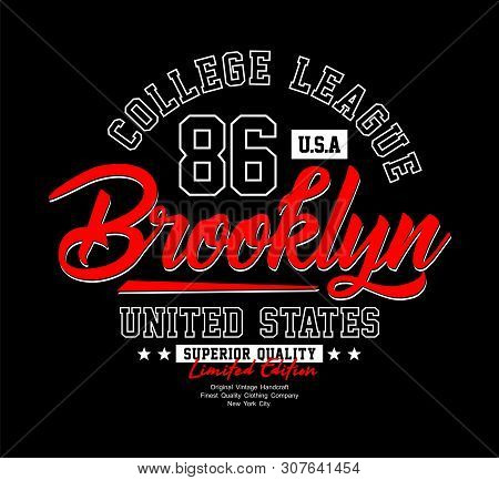 Nyc Typography Design Varsity United States For T Shirt Print, Vectors