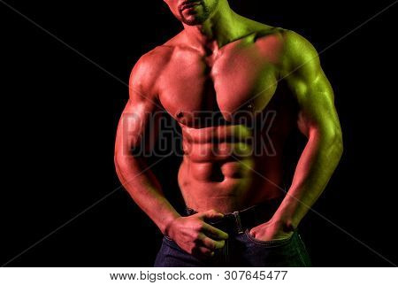 Hot Attractive Guy Tries To Seduct. Complete Seduction. Close Up Of Males Naked Chest With Perfect S