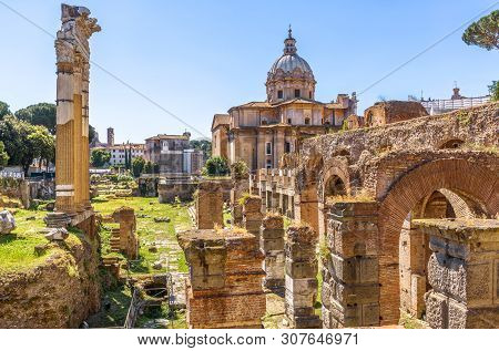 Forum Of Julius Caesar In Summer, Rome, Italy. It Is One Of The Main Tourist Attractions In Rome. Sc