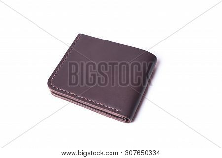 Brown Handmade Leather Wallet Isolated On White Background. Wallet Is Closed. Stock Photo Of Luxury