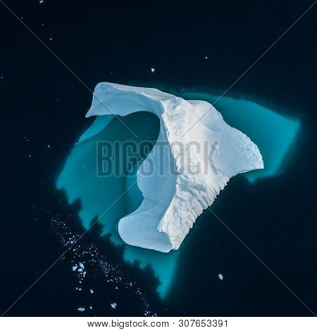 Iceberg In Greenland. Top View. Shape Undrwater